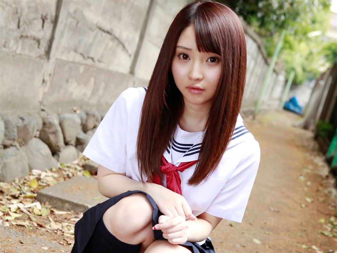 Pure Japanese School Girl With The Beat On The Streets