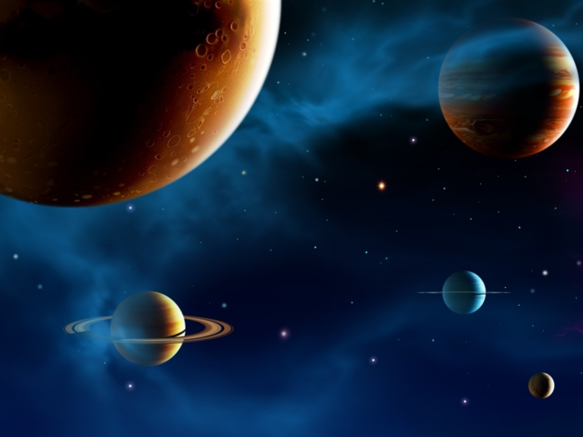 14 CG illustrator space planet universe-the universe stars planets ...