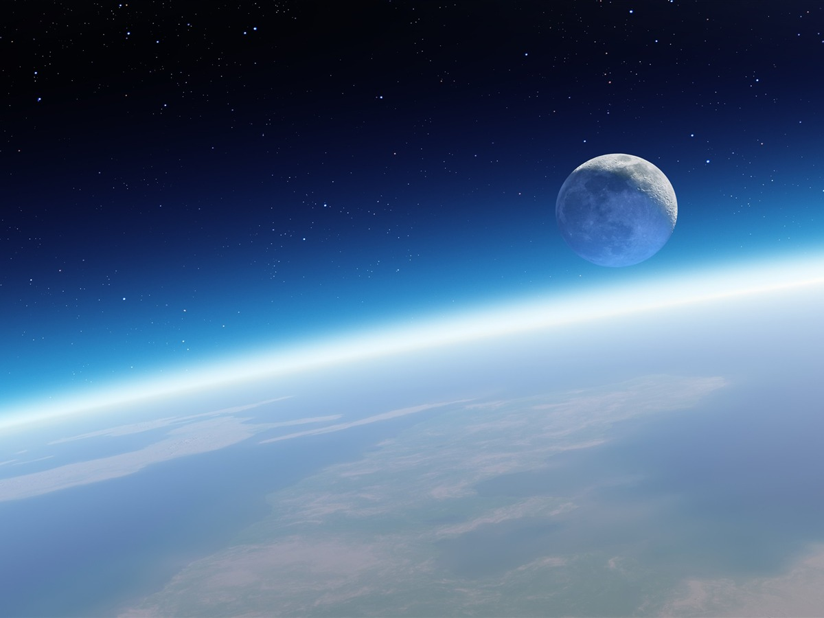 Earth relieved against the moon-Mac OS Wallpaper ...