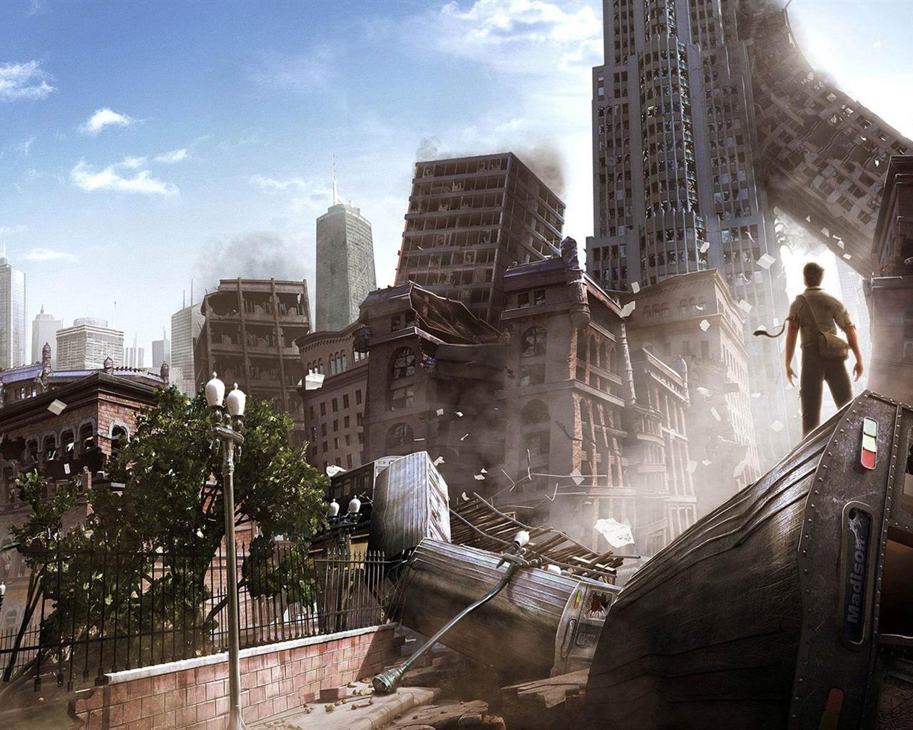 手绘图_末日后的大都市-劫后余生的世界插画壁纸预览 | 10wallpaper.com