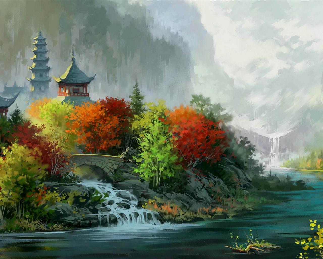 描述: 秋天的颜色-绘画作品高清壁纸 当前壁纸尺寸: 1280 x 1024图片