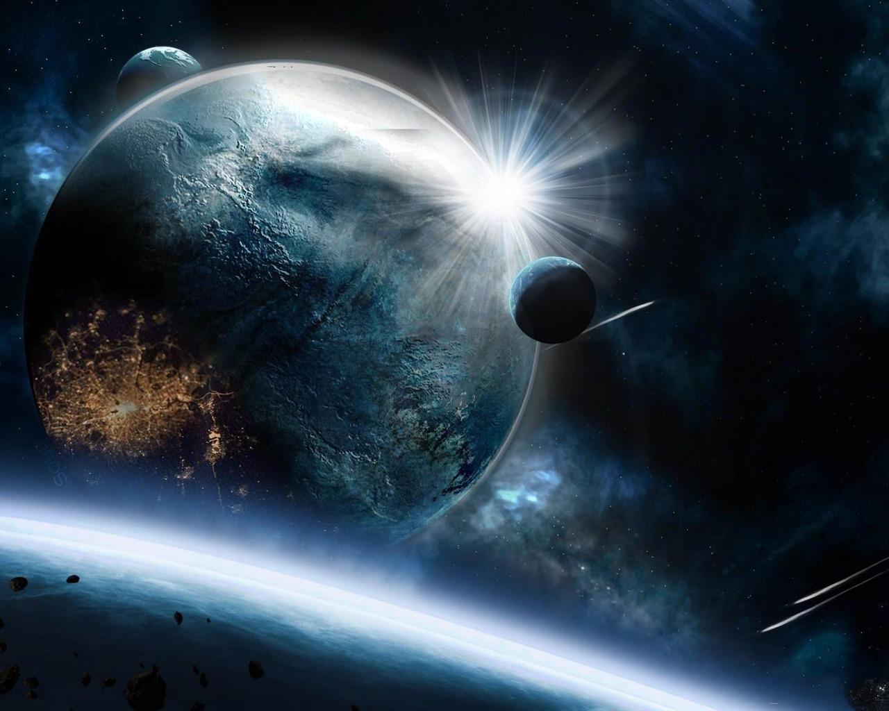 行星小行星高速冲击爆炸-太空高清宽屏壁纸 - 1280x1024 壁纸 下载图片