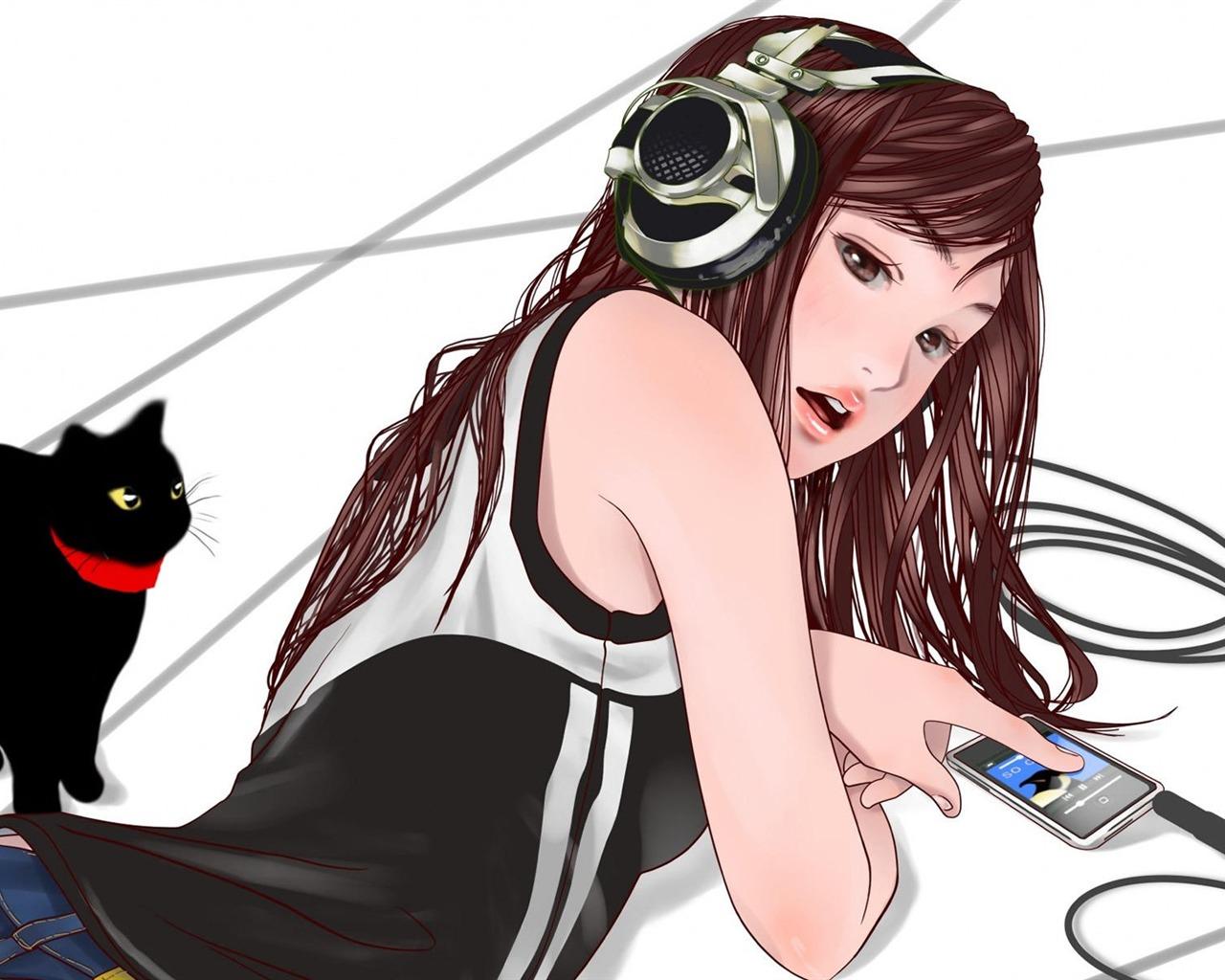 可爱戴着耳机的女孩子动漫宽屏壁纸图片