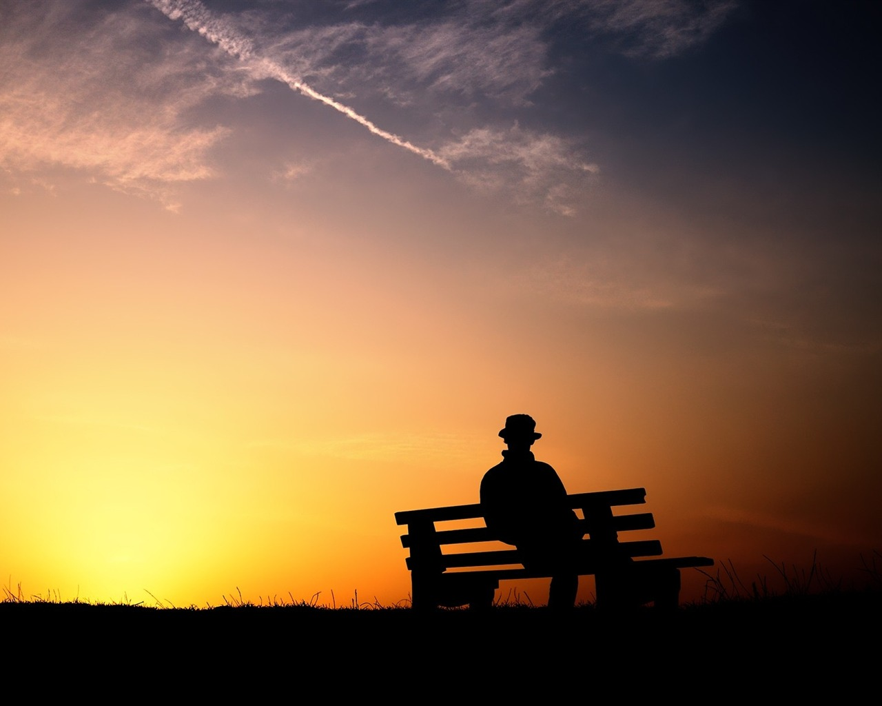 person silhouette bench evening-Photo HD Wallpaper - 1280x1024 wallpaper download