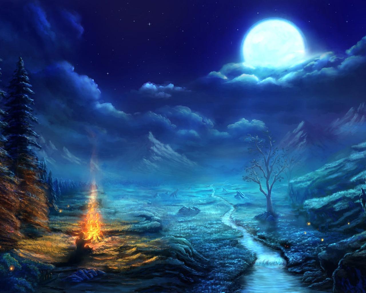 描述: 自然之夜画-高清宽屏壁纸 当前壁纸尺寸: 1280 x 1024图片