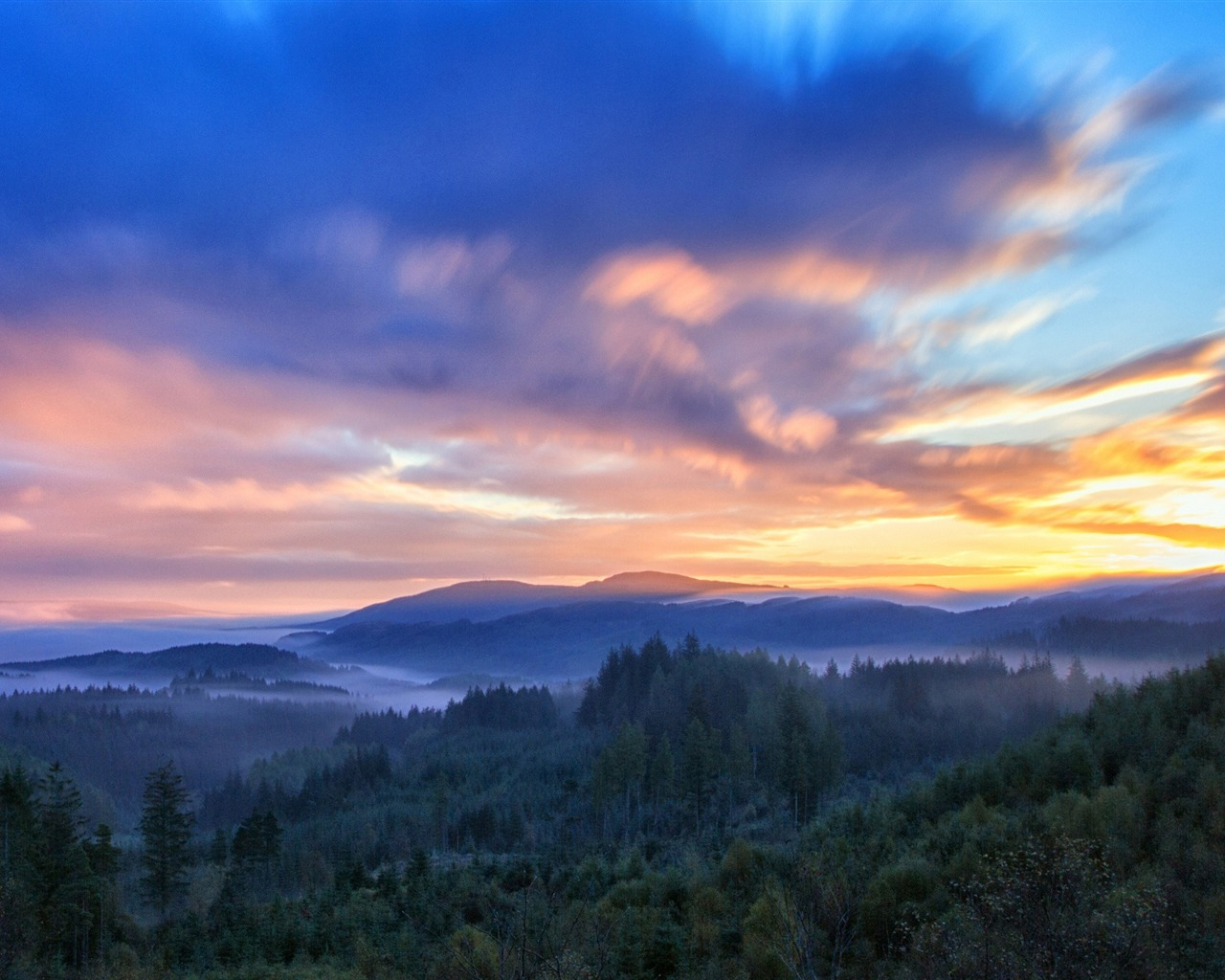 Forest sunrise clouds-Beautiful landscape wallpaper - 1280x1024 wallpaper download