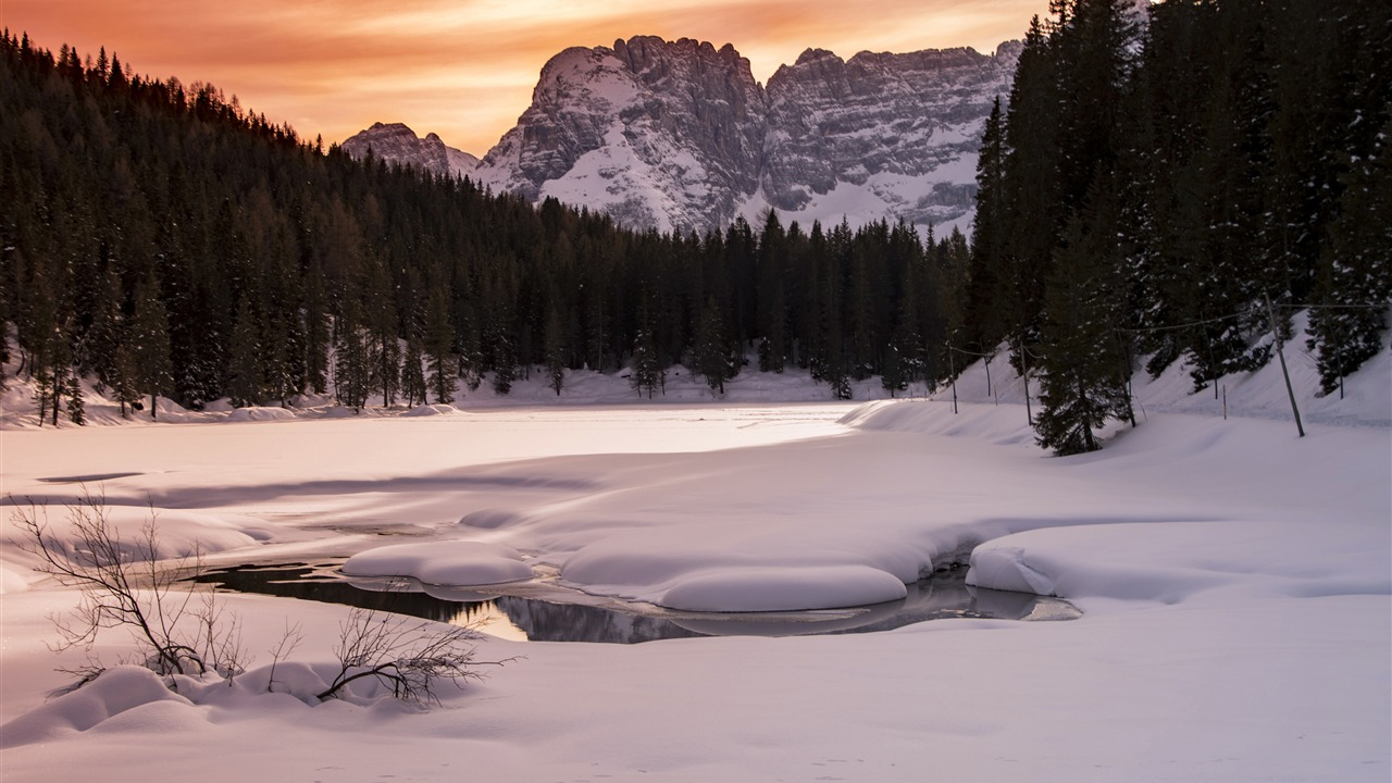 Winter jungle Alpine ice snow sunset - 1280x720 wallpaper download