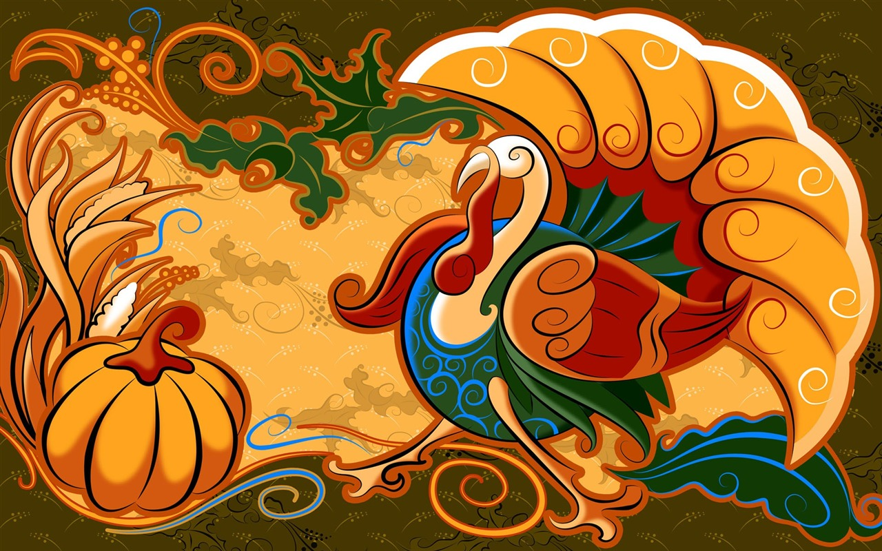 Turkey  Pumpkin  Thanksgiving illustration design wallpaper