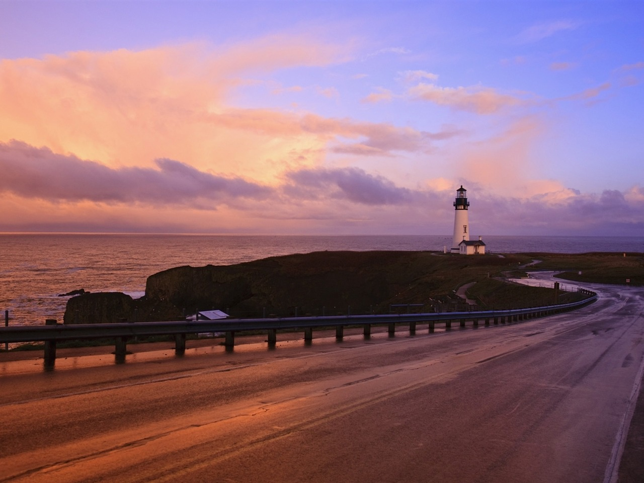 oregon coast highway et le phare fond d u0026 39  u00e9cran aper u00e7u