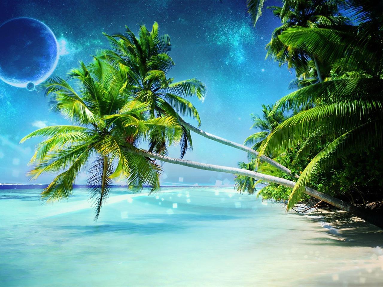 Hd Coconut Tree Seaside Landscape Nature Wallpaper Living: Plage De Rêve-Nature Paysage Bureau Wallpaper Aperçu