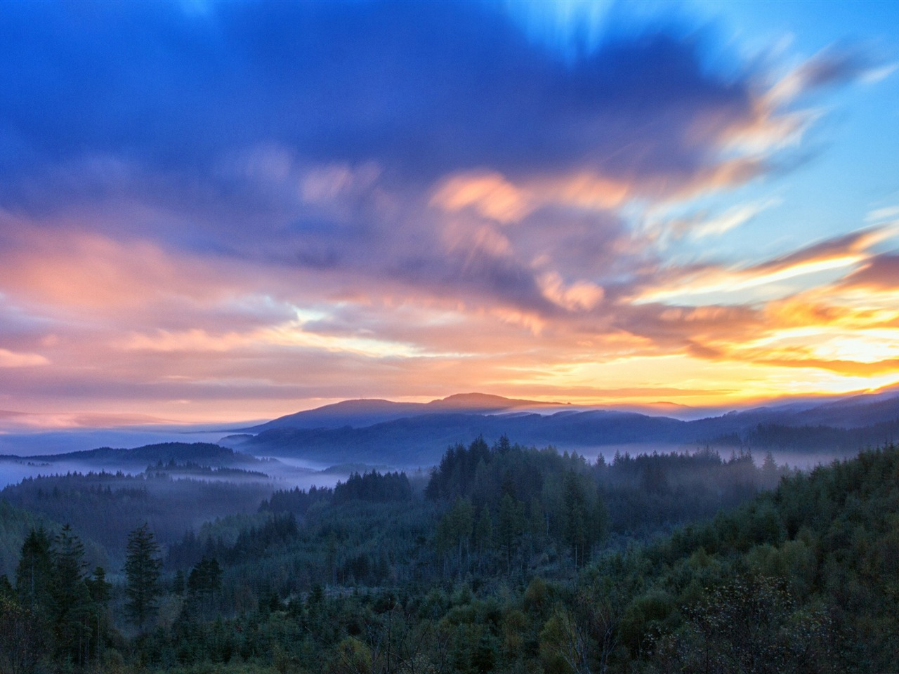Forest sunrise clouds-Beautiful landscape wallpaper - 1280x960 wallpaper download