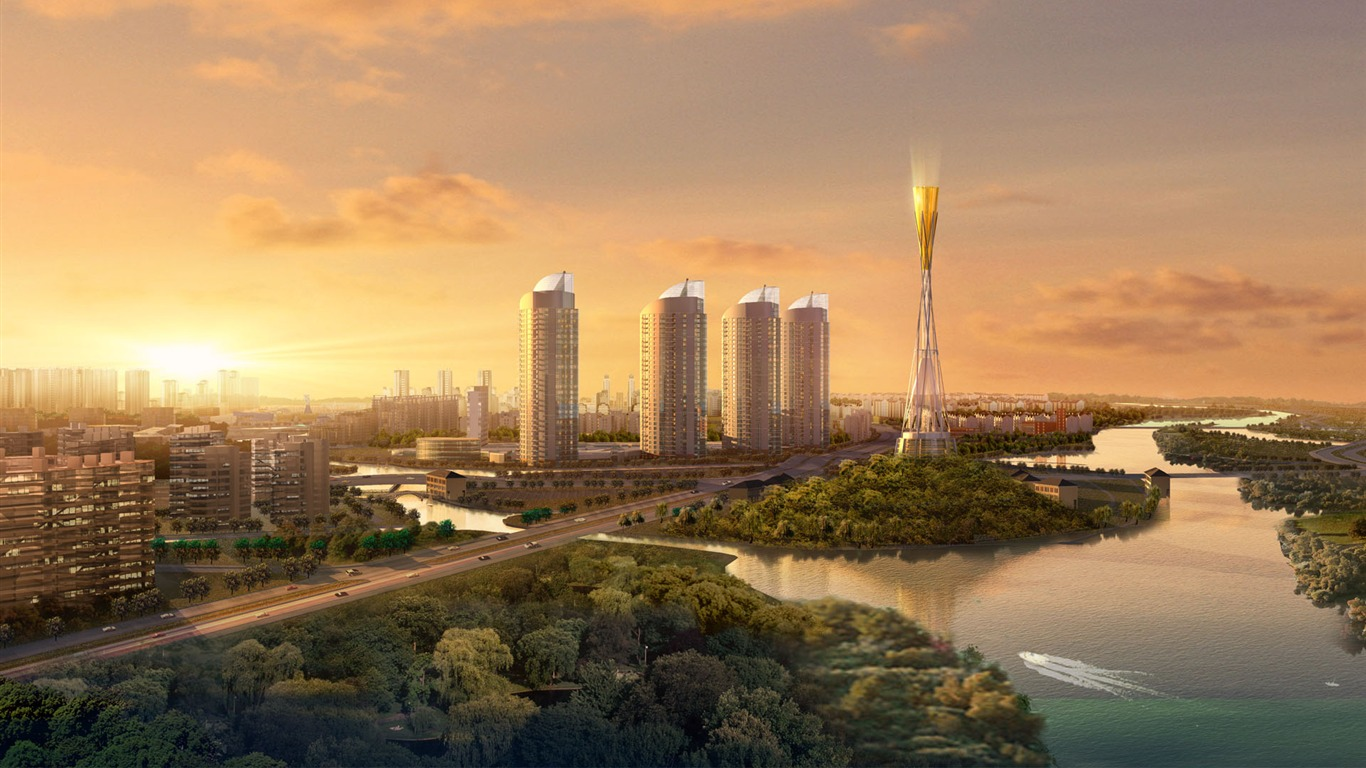 City Skyline 3d Architectural Renderings 1366x768