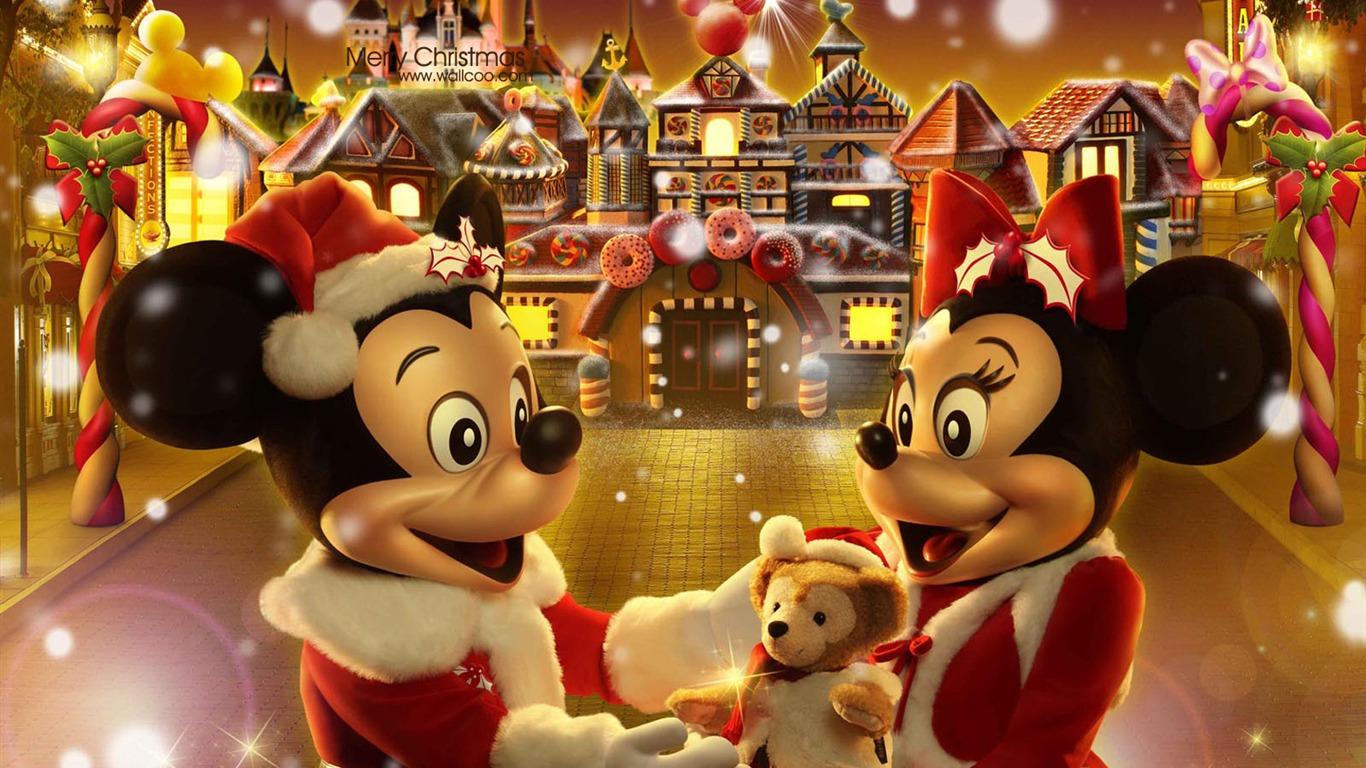 ミッキーとミニージンジャーブレッド人のクリスマスの壁紙妖精の村