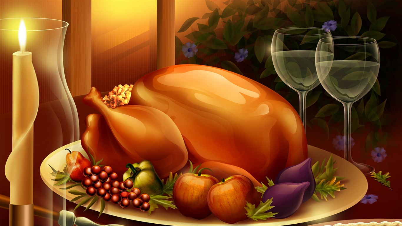 Dinner  turkey  Thanksgiving illustration design wallpaper