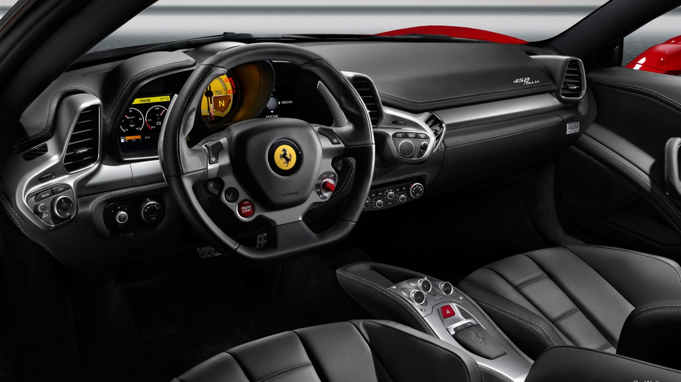 interior space ferrari 458 series sports car wallpaper 1366x768 download. Black Bedroom Furniture Sets. Home Design Ideas