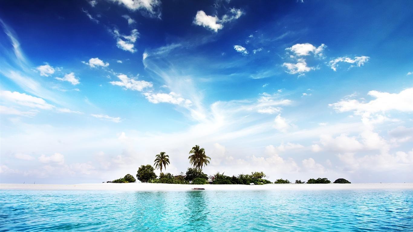 Beautiful Island Pictures For Wallpaper: Sea Island-beautiful Scenery Desktop-1366x768 Download