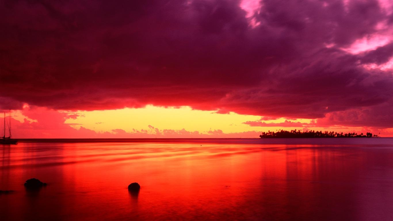 En mer rouge brillant fond d 39 cran coucher de soleil - Fond ecran coucher de soleil sur la mer ...