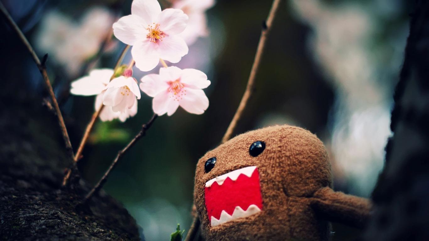 どーもくんと木の花 かわいい面白いデザインのデスクトップピクチャプレビュー 10wallpaper Com