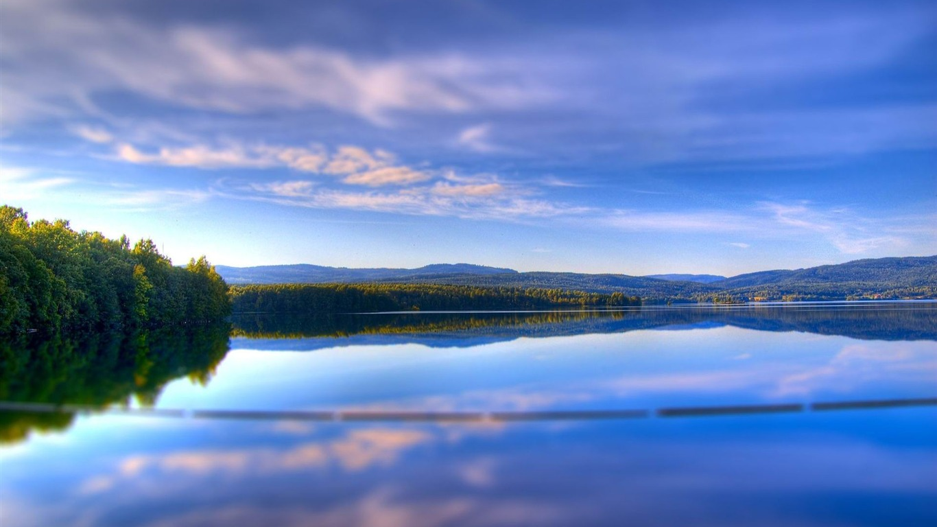 clouds_reservoir_trees_sky-landscape_HD_wallpaper