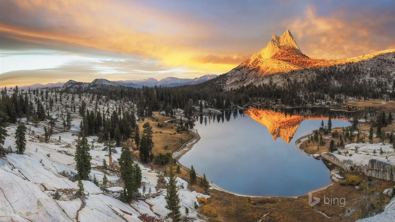 Snow Lake coucher de soleil-Bing fond d'écran Aperçu | 10wallpaper.com