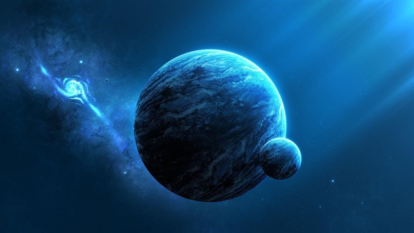 Planetas De Universo Azul-Espaço HD Tema Wallpaper