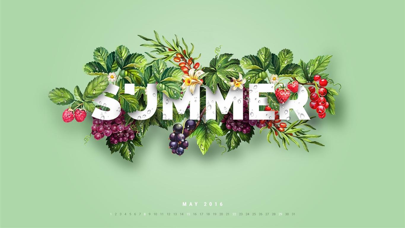 五月日历_甜味之夏-2016年五月日历桌面壁纸