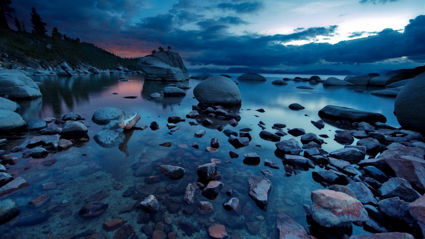 Nature night forest rocks lakes-Windows 10 HD Wallpapers ...