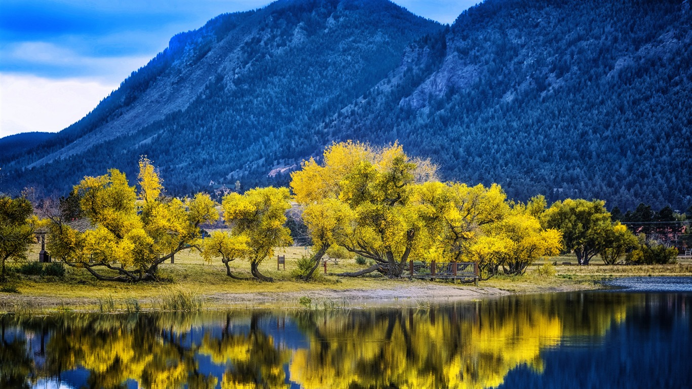 Autumn_yellow_trees_reflection_palmer_lake-Scenery_HD_Wallpaper