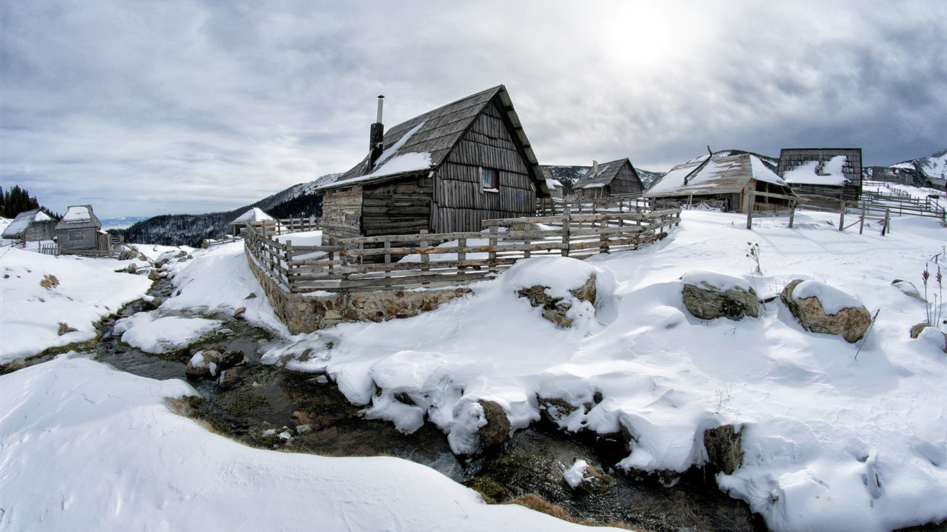 Black_Wooden_House_Surrounded_Snow_HD_Scenery_Photography