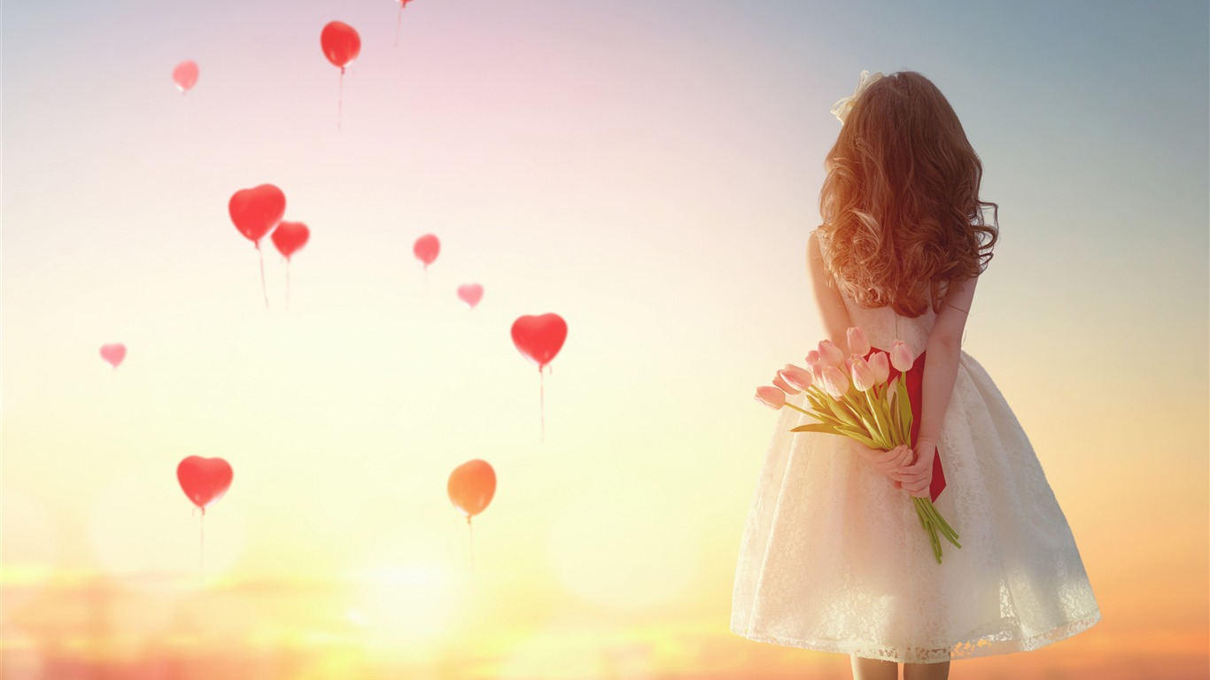 Amour, coeur, ballons, fille, tulipes