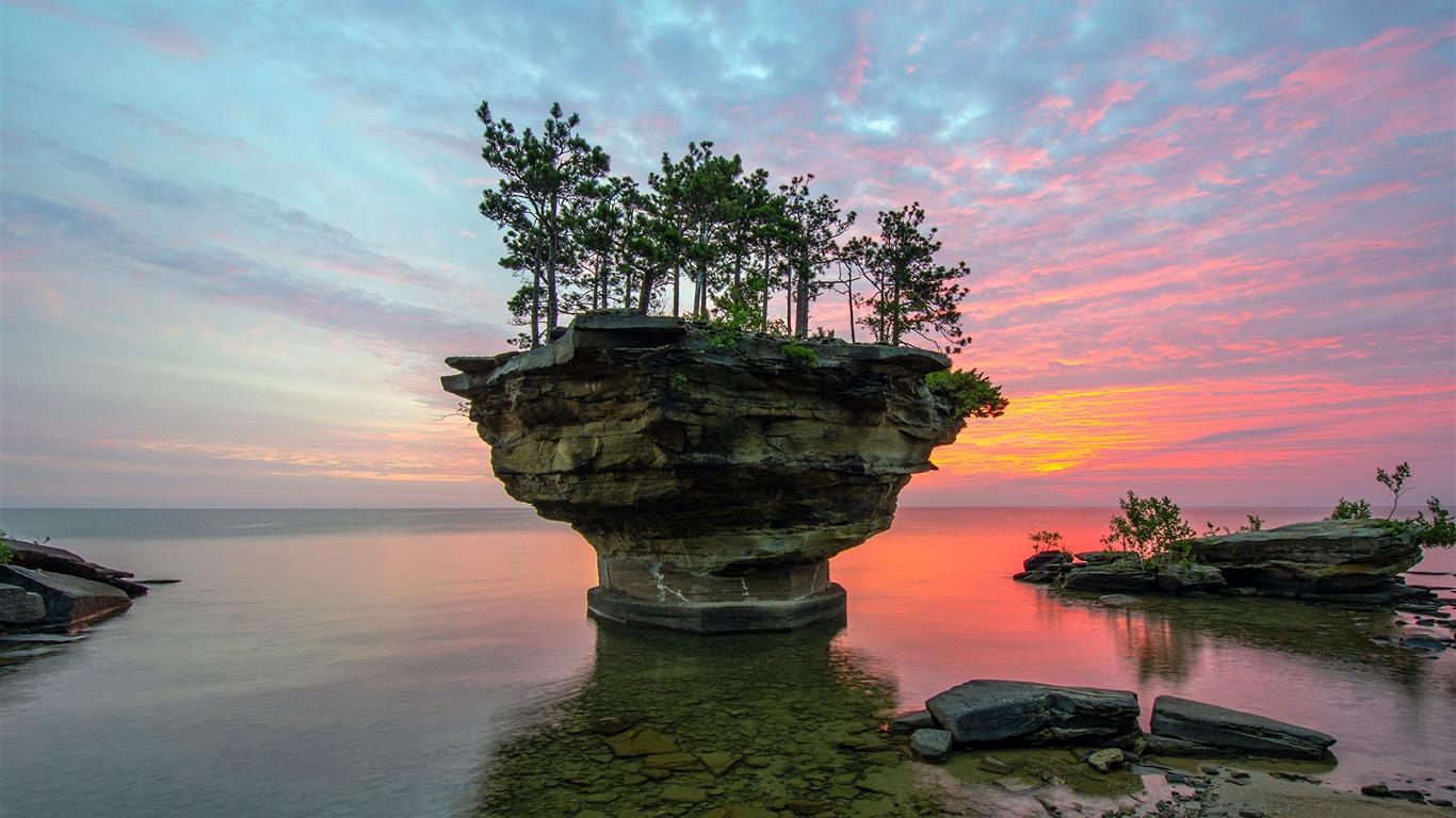 american coast strange stones sunset scenery preview