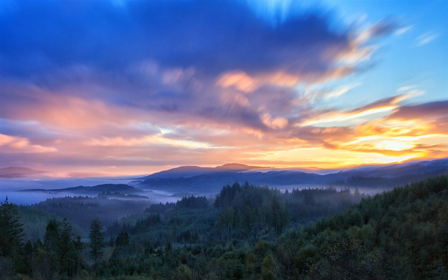 Forest sunrise clouds-Beautiful landscape wallpaper - 1440x900 wallpaper download