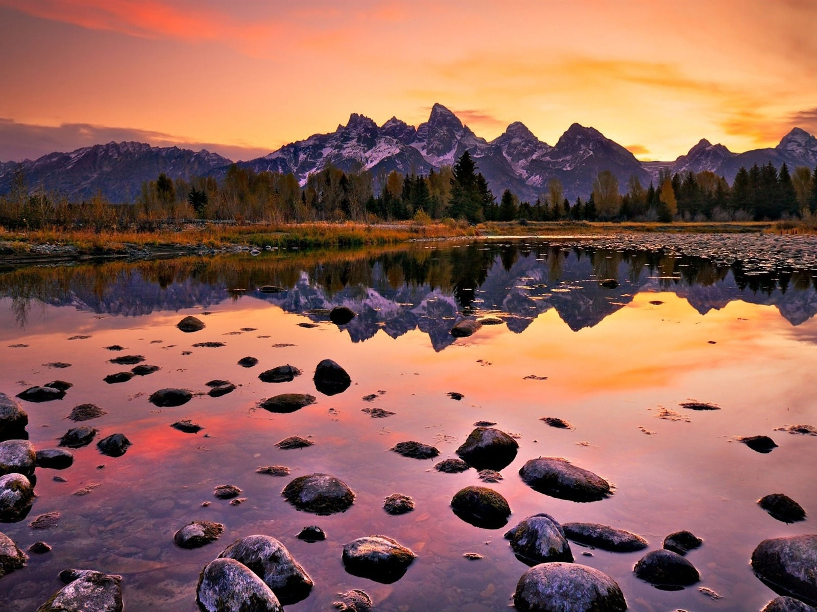 Sunset Grand Teton National Park Nature Photography Hd