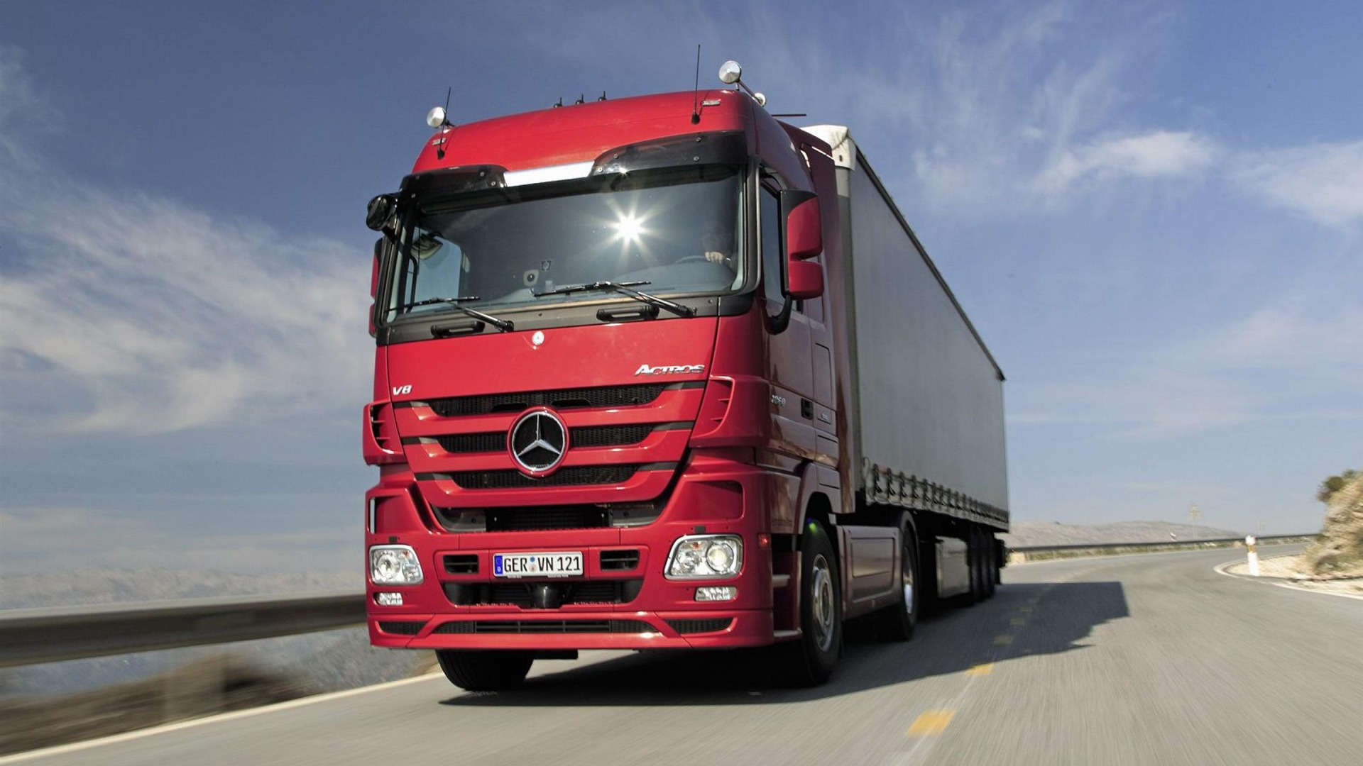 Actros Truck Red Car Transport Photography Wallpaper