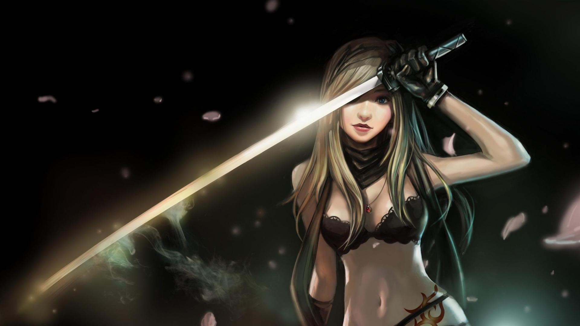 女孩与1武士刀-动漫人物壁纸