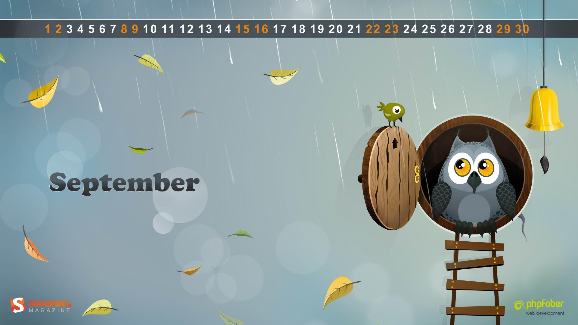 ... autumn owl-September 2012 calendar wallpaper Current Size: 1920 x 1080