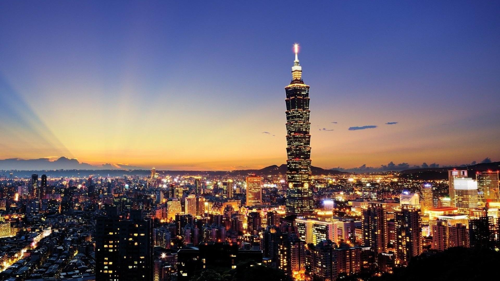 Taiwan Skyscrapers City Night Cities HD Wallpaper