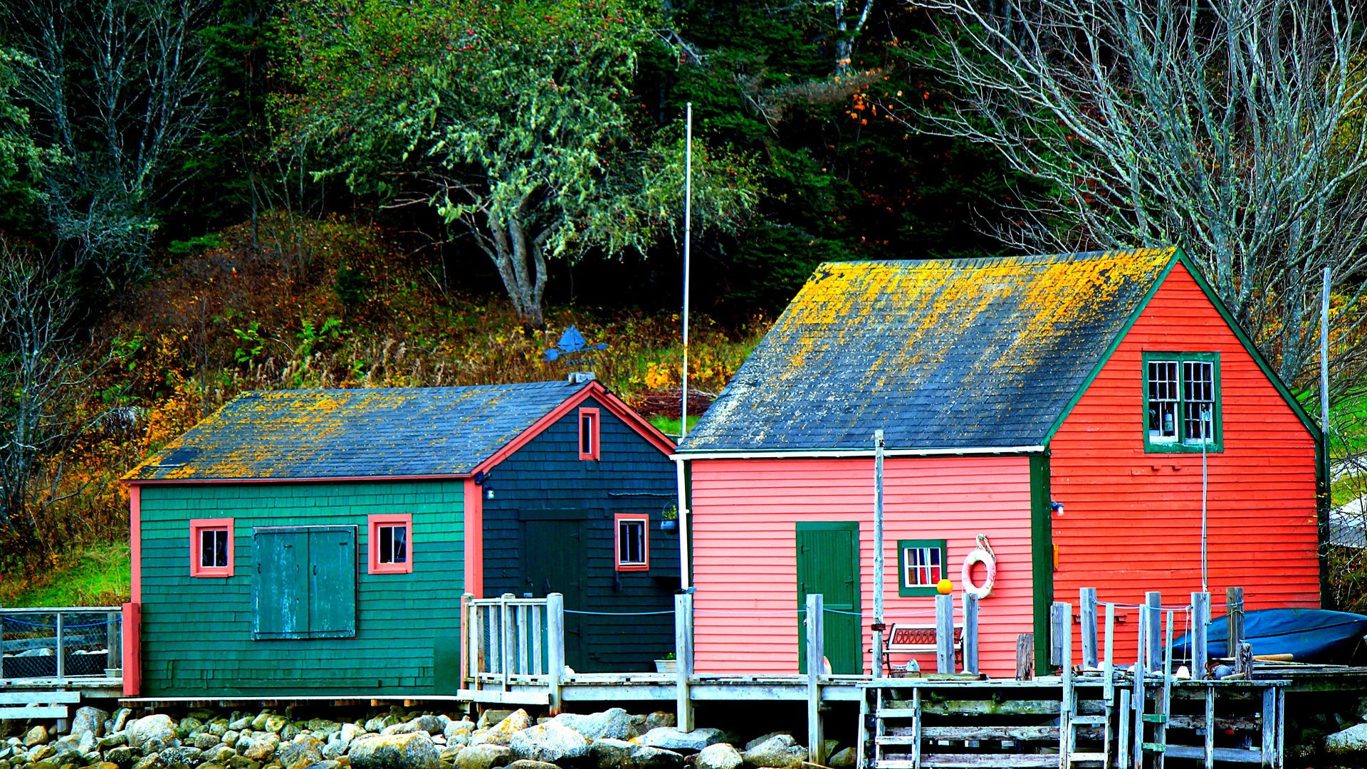 Small fishing village autumn-Country Nature Scenery Wallpaper - 1920x1080 wallpaper download