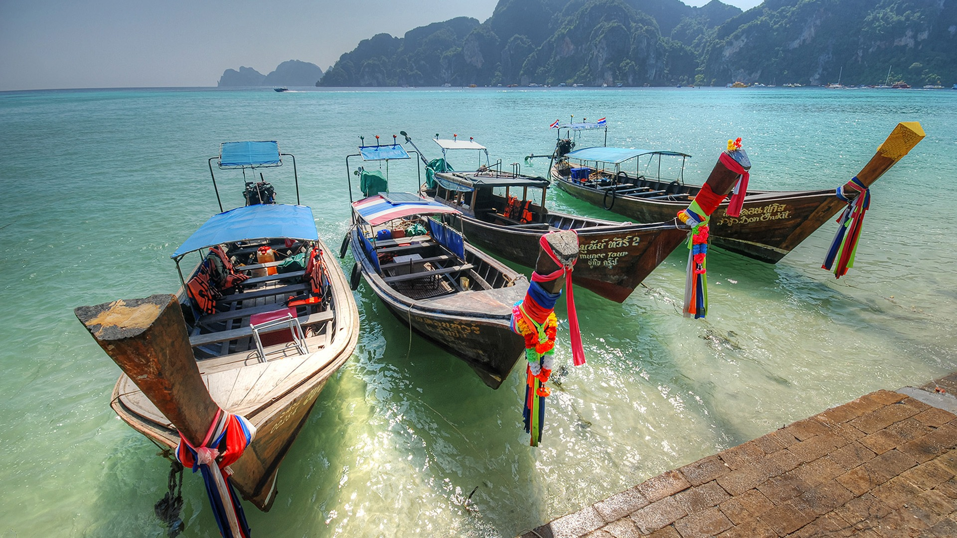 Thailand port 4 longtail boats-Windows 10 Desktop Wallpaper - 1920x1080 wallpaper download