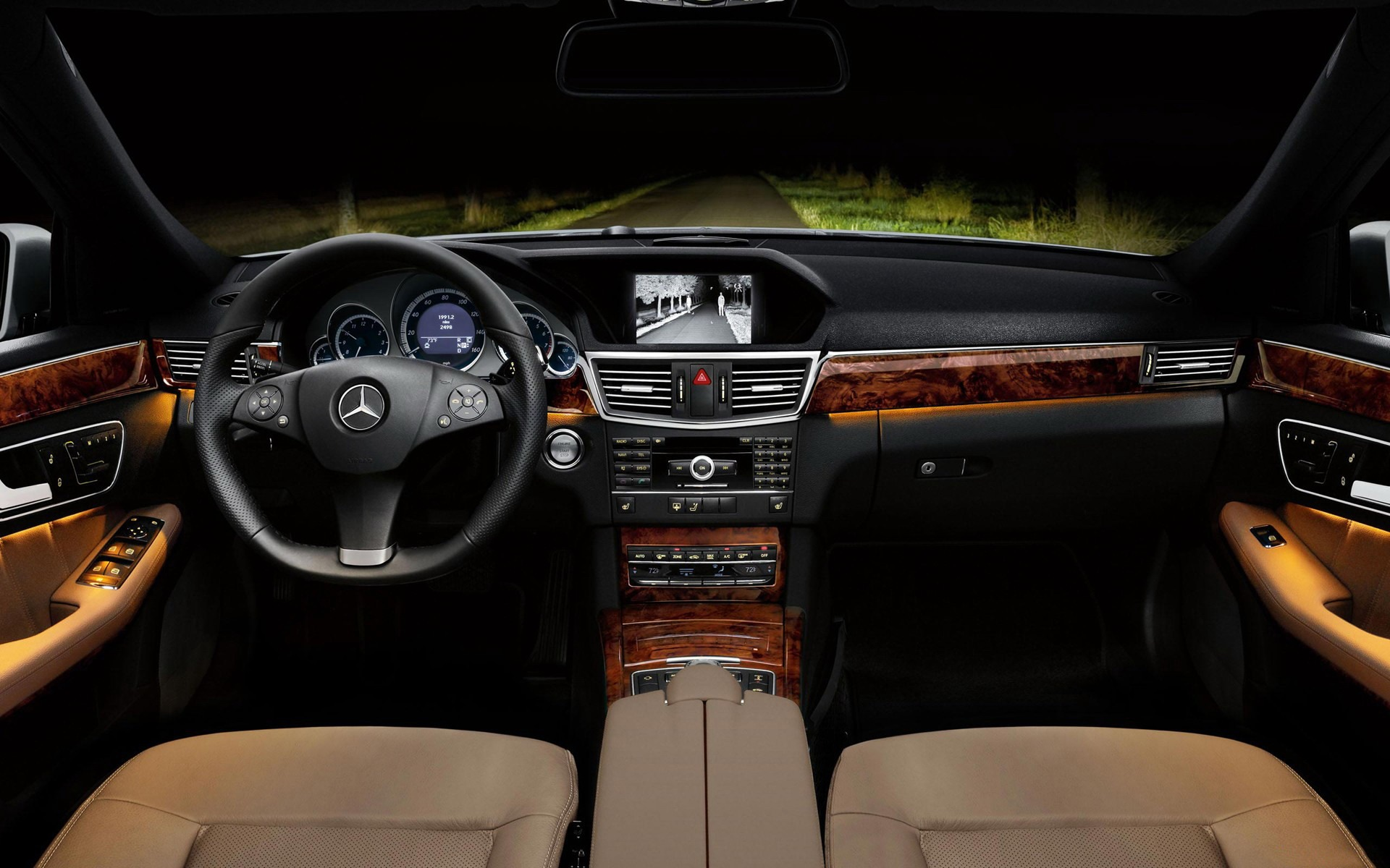 The Front Night Vision Effect 2012 Mercedes Benz E Class Saloon Hd Wallpaper Preview