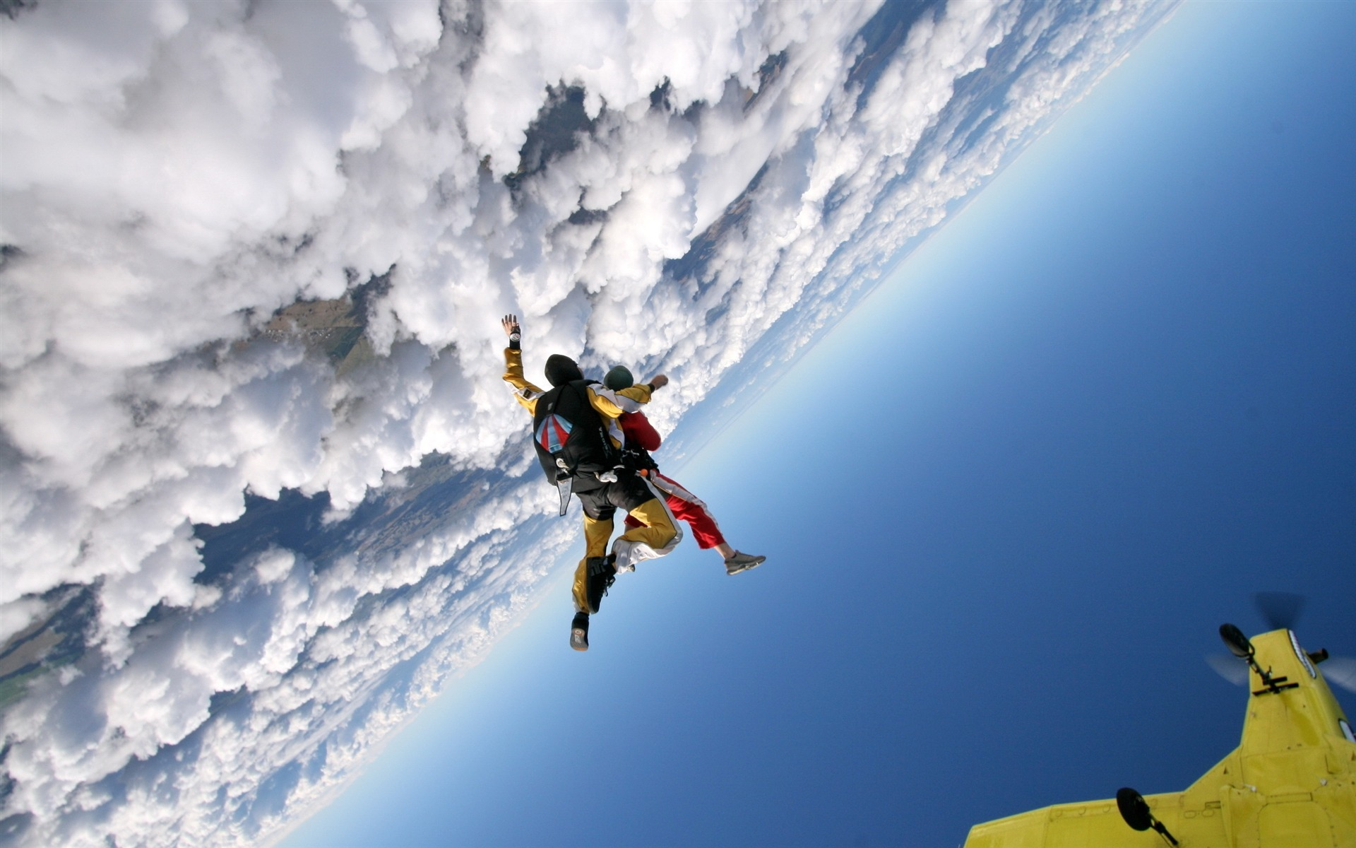 jump clouds sky plane parachutists-Sports HD Wallpaper - 1920x1200 wallpaper download