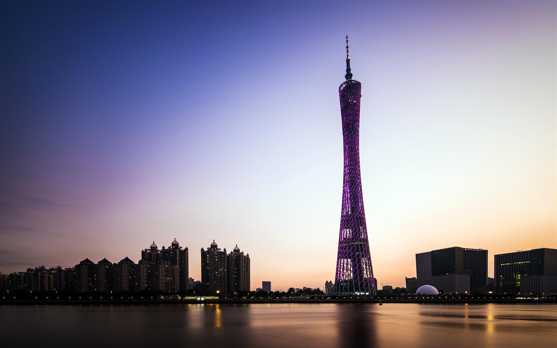 Evening Guangzhou Landmark Guangzhou Tower Preview ...