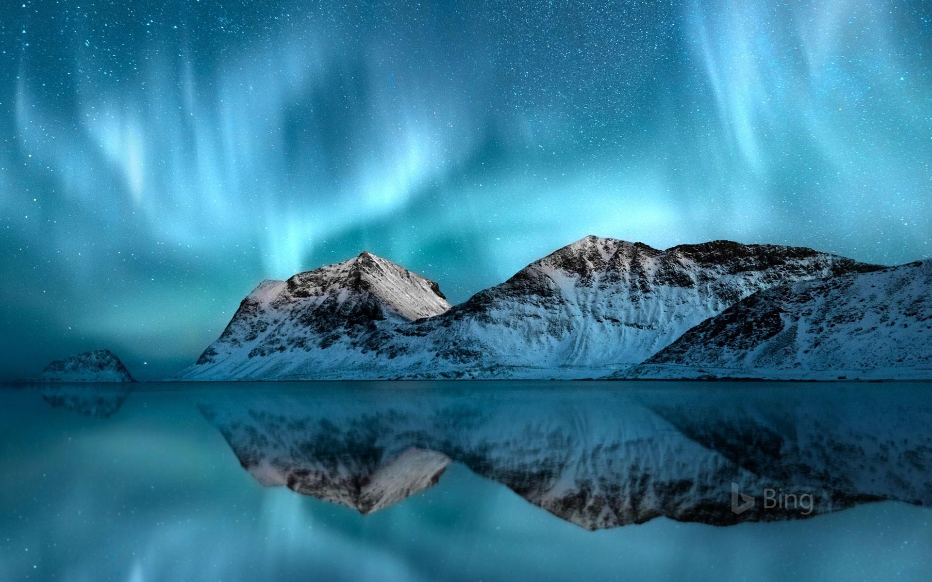 norway aurora borealis lofoten 2018 bing wallpaper preview