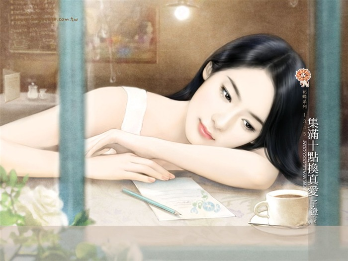 Romantic Illustrations of Young Girls in Soft Pastel colors Views:4964