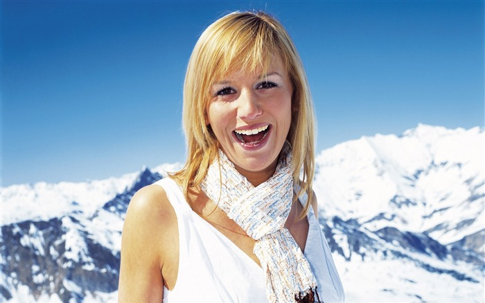 Beautiful Girl Portrait in Alps - Alpine Winter Vacation Views:7587