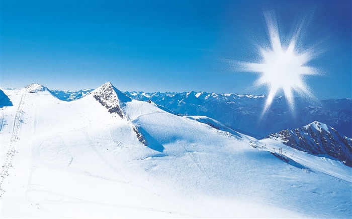 Beautiful Snowsacpe of Alps under Sunny Sky - Alps Winter Vacation Views:11729