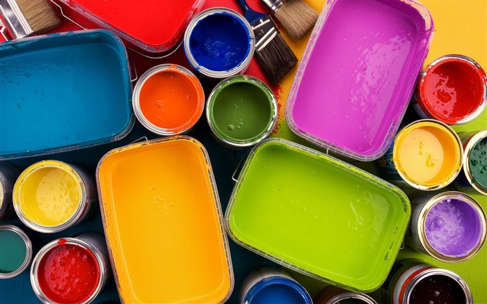 Colorful oil paints in opened paint bucket Views:17058