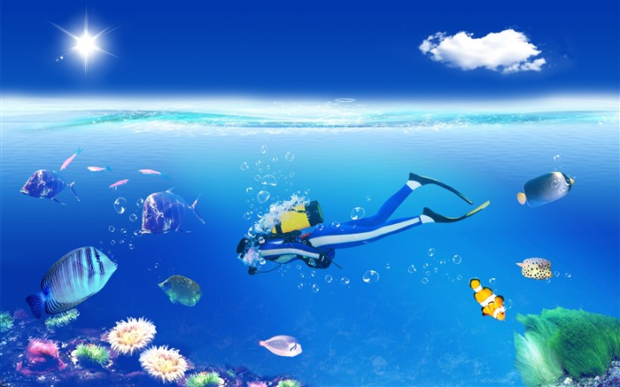 Creative Digital Composite-Diving in the colourful world Views:4641