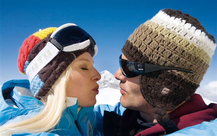 Honeymoon Couple in Alps - Alpine Winter Vacation Views:6825
