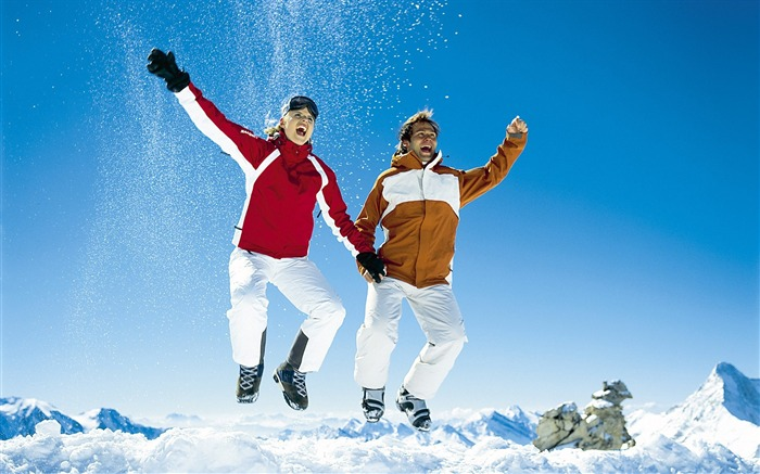Jumping in Snow - Alps Winter Fun Vacation Views:8559